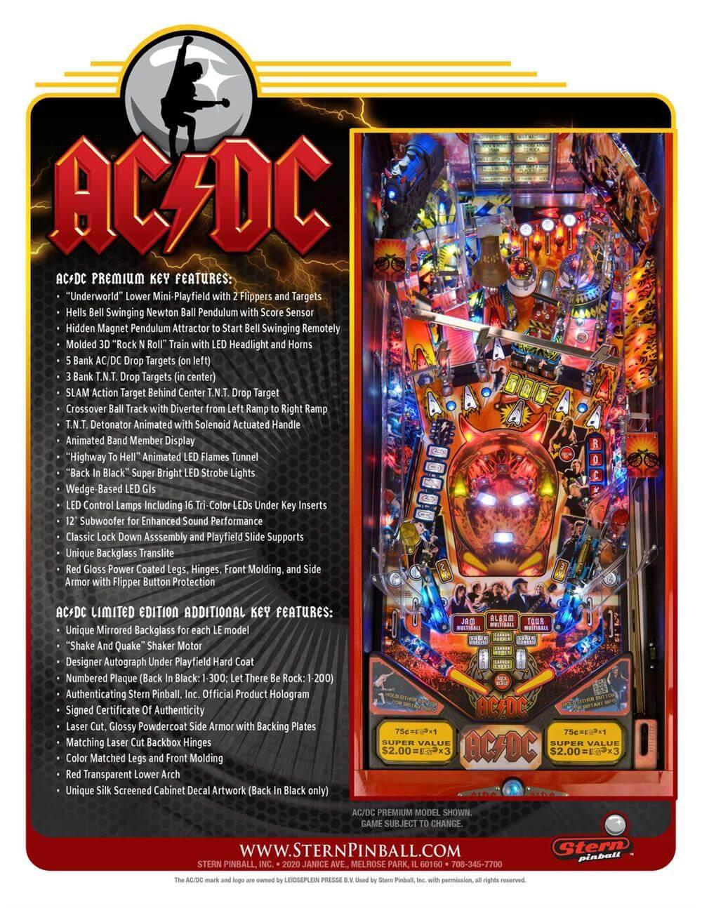 AC/DC Premium Pinball Machine by Stern