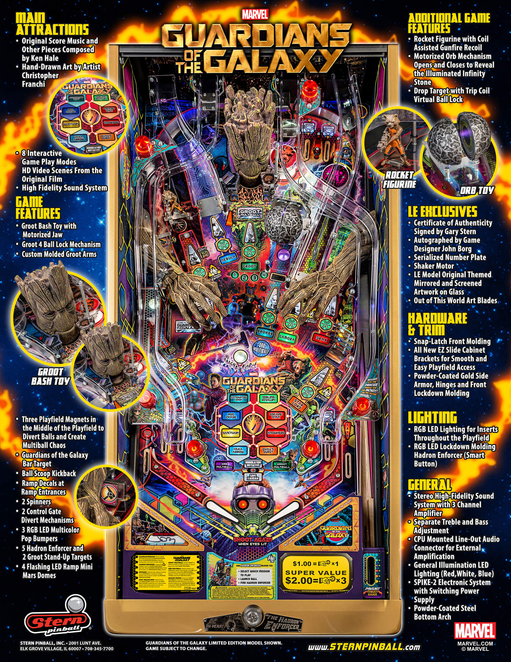 Guardians of the Galaxy Limited Edition Pinball Machine by Stern
