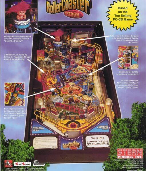 Buy Roller Coaster Tycoon Pinball Machine Online at $5499